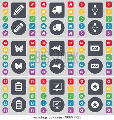 Pencil, Truck, Wrist Watch, Butterfly, Trumped, Charging, Battery, Monitor, Star Icon Symbol. A Larg