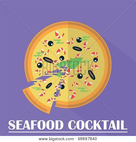 Seafood Cocktail Pizza Vector Illustration.