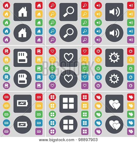 House, Magnifying Glass, Sound, Sim Card, Heart, Gear, Charging, Apps, Heart Icon Symbol. A Large Se