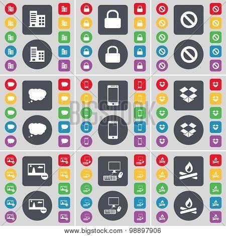 Building, Lock, Stop, Chat Cloud, Smartphone, Dropbox, Picture, Pc, Campfire Icon Symbol. A Large Se