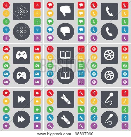 Star, Dislike, Receiver, Gamepad, Book, Ball, Rewind, Rocket, Microphone Icon Symbol. A Large Set Of