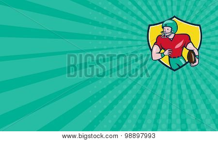 Business Card American Football Receiver Running Shield Cartoon