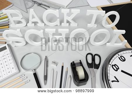 Back To School Word On The Desk With Stationery