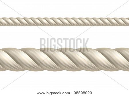 Rope on white background, Seamless Vector