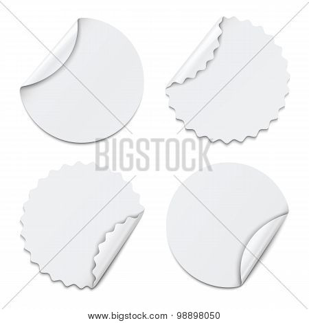 Set Of White Round Paper Stickers On White Background. Vector Illustration