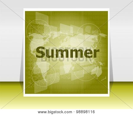 Abstract Digital Touch Screen With Summer Word, Abstract Background
