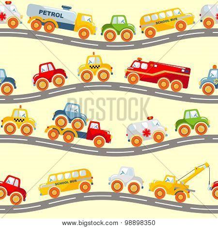 Toys transport seamless pattern