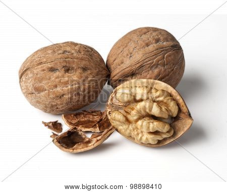Walnut And A Cracked Walnu