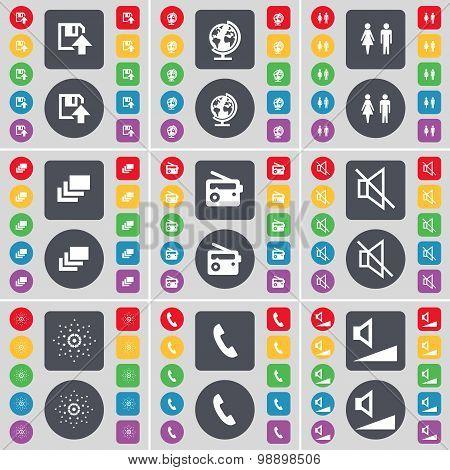Floppy, Globe, Silhouette, Gallery, Radio, Mute, Star, Receiver, Volume Icon Symbol. A Large Set Of