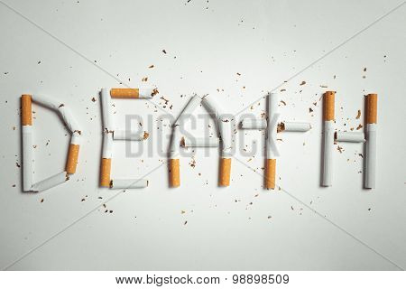 word DEATH, made of cigarettes