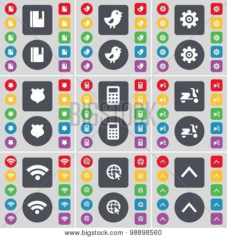 Dictionary, Bird, Gear, Police Badge, Calculator, Scooter, Wi-fi, Web Cursor, Arrow Up Icon Symbol.