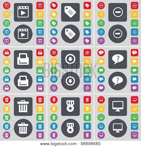 Media Player, Tag, Minus, Printer, Arrow Down, Chat Bubble, Trash Can, Medal, Monitor Icon Symbol. A