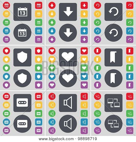 Calendar, Arrow Down, Reload, Badge, Heart, Marker, Cassette, Sound, Connection Icon Symbol. A Large