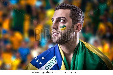 Brazilian fan holding the Brazilian flag in the stadium