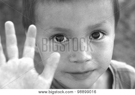 Boy Saying Stop Black-white Image