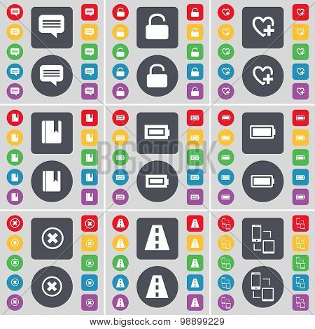 Chat Bubble, Lock, Heart, Dictionary, Battery, Stop, Road, Connection Icon Symbol. A Large Set Of Fl