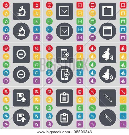 Microscope, Arrow Down, Window, Minus, Smartphone, Bell, Floppy, Icon Symbol. A Large Set Of Flat, C