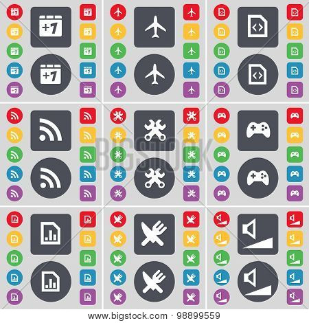 Plus One, Airplane, File, Rss, Wrench, Gamepad, Diagram File, Fo Icon Symbol. A Large Set Of Flat, C