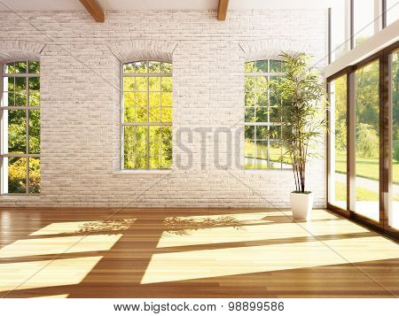 Empty room of business, or residence with hardwood floors, stone walls and woods background