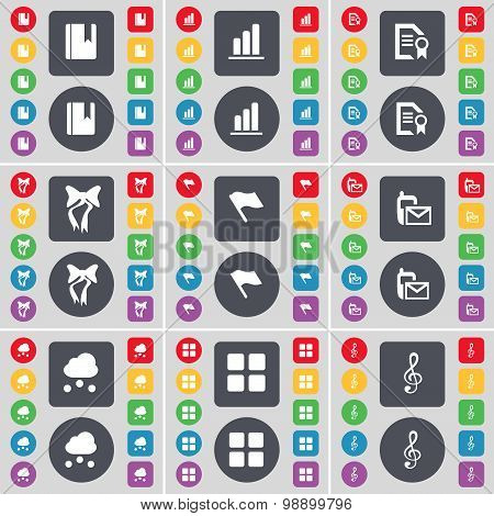 Dictionary, Diagram, Text File, Bow, Flag, Sms, Cloud, Apps, Cle Icon Symbol. A Large Set Of Flat, C