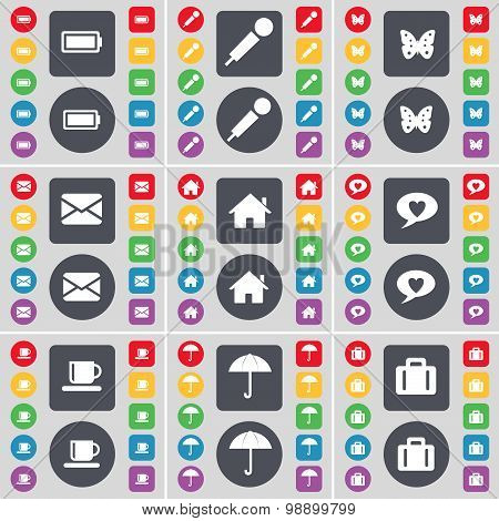 Battery, Microphone, Butterfly, Message, House, Chat Bubble, Cup Icon Symbol. A Large Set Of Flat, C