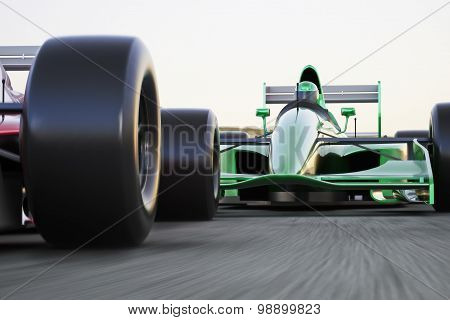 Motor sports race car competitive close quarters racing on a track with motion blur