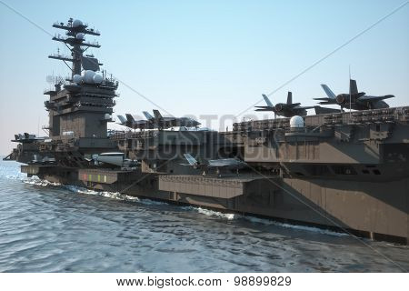 Navy aircraft carrier angled view, with a large compartment of aircraft and crew.