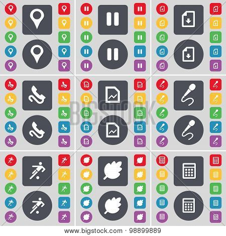 Checkpoint, Pause, Download File, Receiver, Graph File, Micropho Icon Symbol. A Large Set Of Flat, C