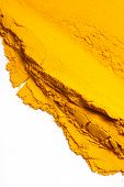 picture of haldi  - Pile of Turmeric powder isolated on a white background - JPG