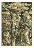 stock photo of inri  - A very unusual exceptionally clean and beautiful two color print of the Crucifixion of Jesus Christ on the cross by Hans Baldung 1511. 