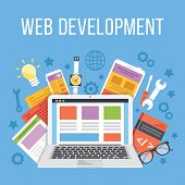 Web development flat illustration concept poster