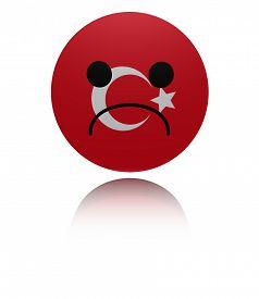 picture of saddening  - Turkey sad icon with reflection illustration - JPG
