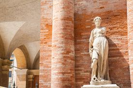 picture of vicenza  - One of the the two statues on the right side of the Palazzo del Capitaniato in Lords Square Vicenza - JPG