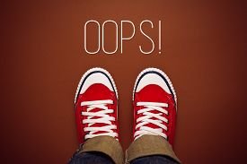 pic of politeness  - Oops Young Person MAde a Mistake Concept with Red Sneakers from above Top View - JPG
