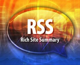 picture of summary  - Speech bubble illustration of information technology acronym abbreviation term definition RSS Rich Site Summary - JPG