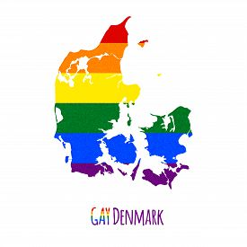 stock photo of bisexual  - Vector map of Denmark in LGBT  - JPG