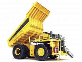 stock photo of dumper  - Large industrial mining dump truck on an isolated white background - JPG