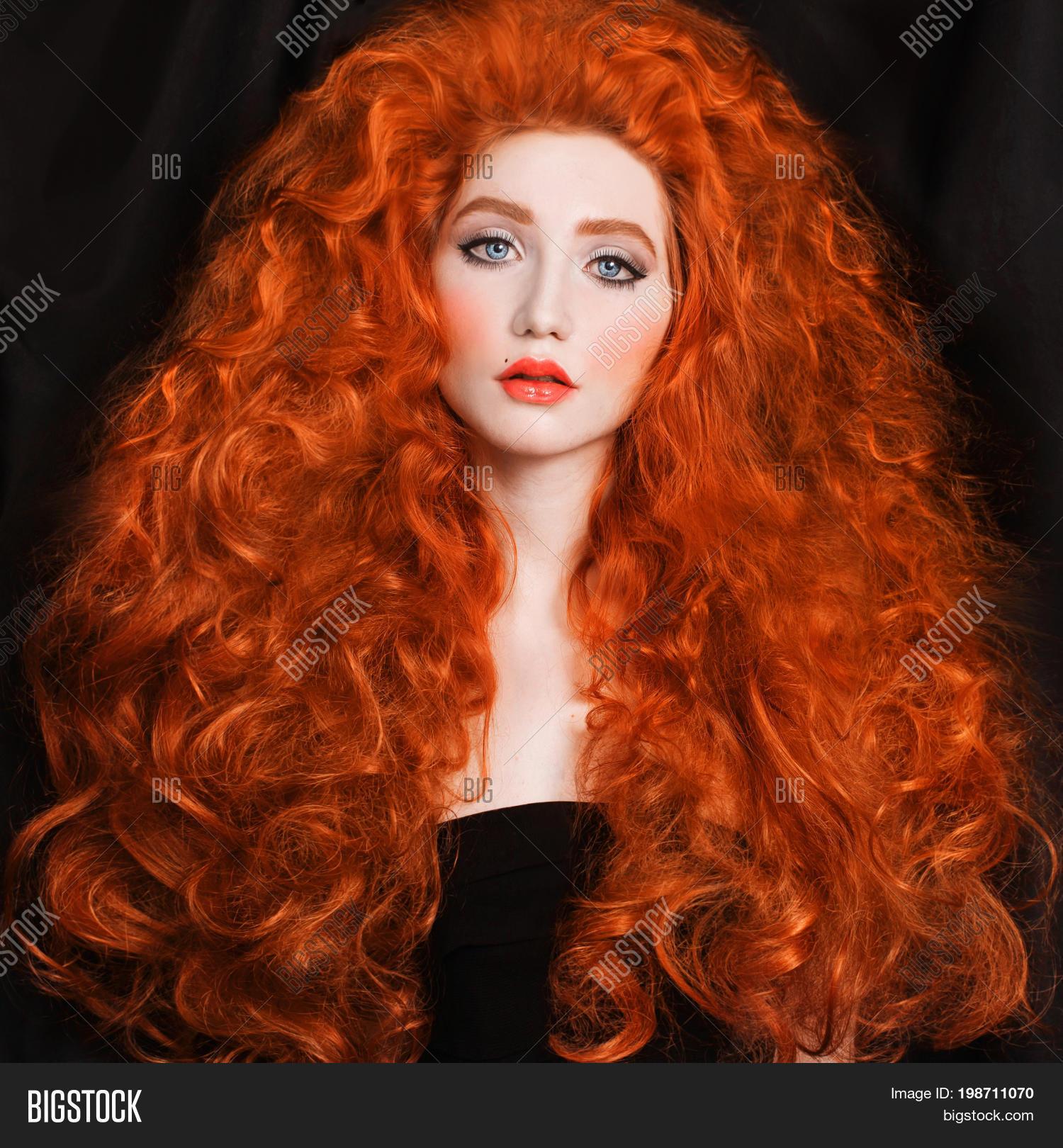 redhead woman very long curly hair image amp photo bigstock