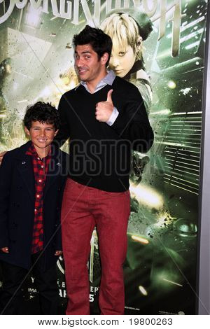 LOS ANGELES - MAR 23:  Mike Catherwood & Nephew arrives at the