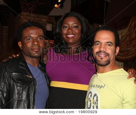 LOS ANGELES - MAR 24:  Darius McCrary, Julia Pace Mitchell, Kristoff St. John at the Young & Restless 38th Anniversary On Set Press Party at CBS Television City on March 24, 2011 in Los Angeles, CA