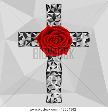 Flower Red Rose And Low Poly Cross Freemason And Spiritual Symbols