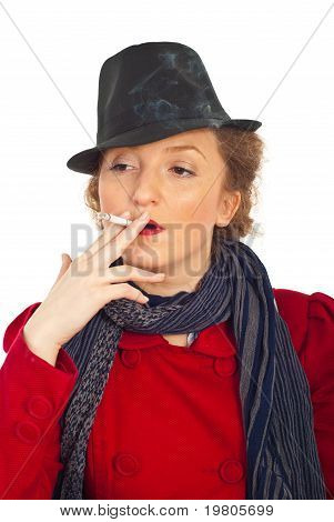 Woman With Retro Hat Smoking