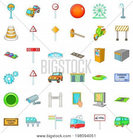 poster of City geography icons set. Cartoon style of 36 city geography vector icons for web isolated on white background