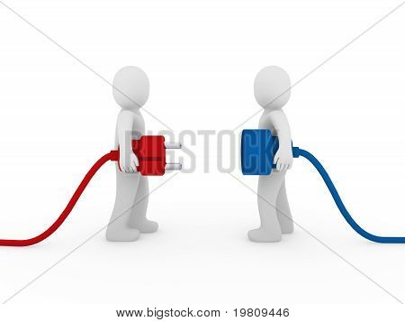 3D Men Plug  Red Blue
