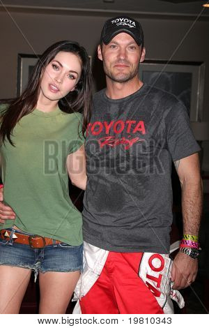 LOS ANGELES - APR 16:  Megan Fox, Brian Austin Green attends the Toyota Grand Prix Pro Celeb Race at the Toyota Grand Prix Track on April 16, 2011 in Long Beach, CA.
