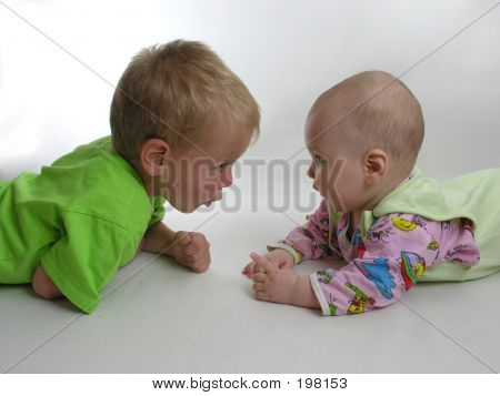 Child With Baby On White