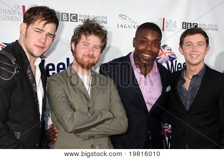 LOS ANGELES - APR 26:  James Durbin, Casey Abrams, Jacob Lusk, Scotty McCreery arriving at the 5th Annual BritWeek Party at British Consul General's residence on April 26, 2011 in Los Angeles, CA..