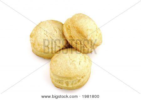 Three Buttermilk Biscuits On White