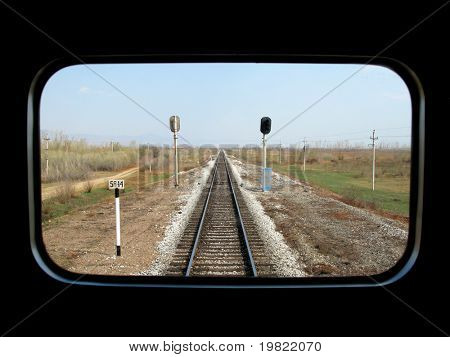 Long view from the back of a train.