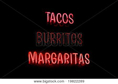 Pink & red neon sign of the words 'Tacos Burittos Margeritas' on a black background.